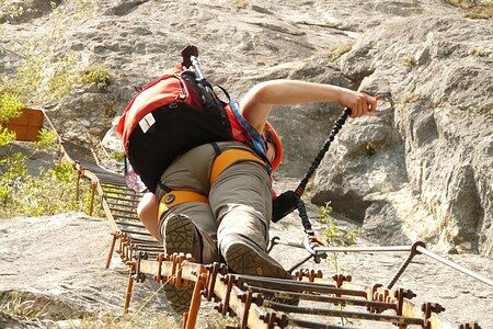 Outdoor adventure Via Ferrata secured cable hike Alps from Munich
